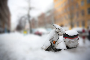 Scooter under snow